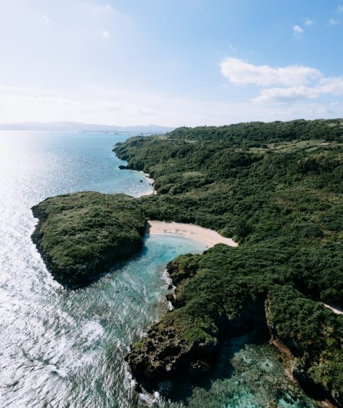 Secluded tropical beach, Japan off-the-beaten-path drone photography