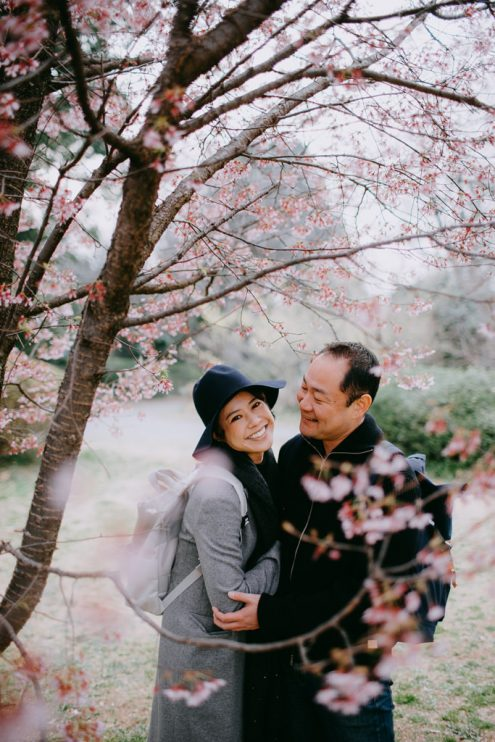Tokyo portrait photography with sakura cherry blossoms - Japan engagement pre-wedding photographer Ippei and Janine