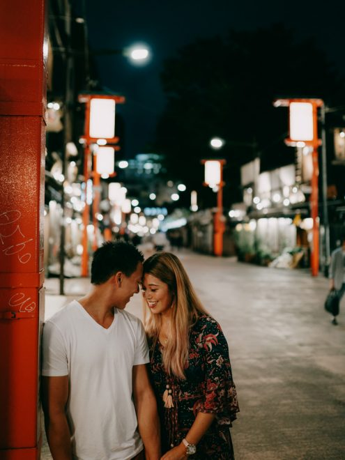 Tokyo Night Couple Portrait Photoshoot in Asakusa by Ippei and Janine Photography