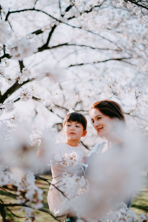 Tokyo family photography with cherry blossoms - Tokyo portrait photographer Ippei and Janine