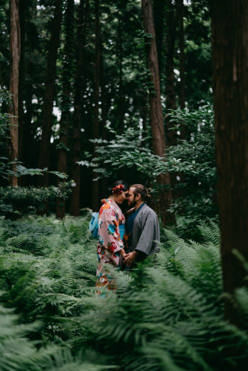 Tokyo kimono portrait photography in forest - Japan outdoor engagement pre-wedding photographer Ippei and Janine