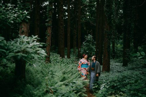 Tokyo kimono portrait photography in nature - Japan outdoor engagement pre-wedding photographer Ippei and Janine