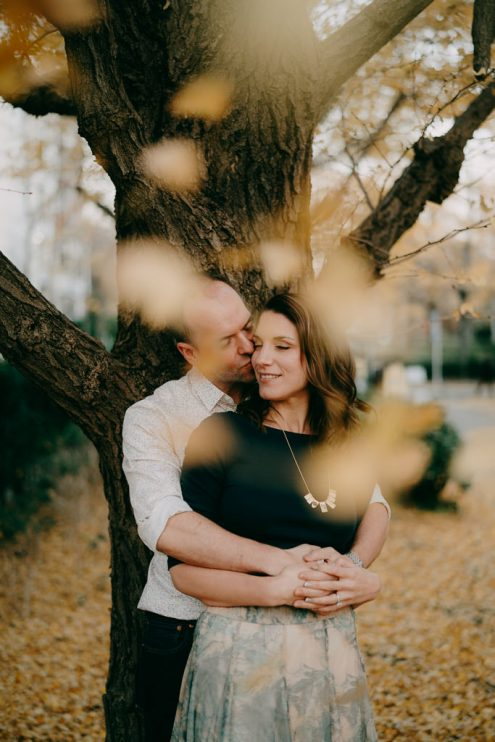 Tokyo portrait photography with autumn colors - Japan engagement pre-wedding photographer Ippei and Janine