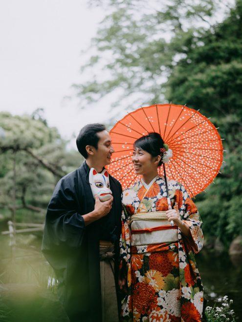 Tokyo kimono portrait photography - Engagement pre-wedding photographer Ippei and Janine