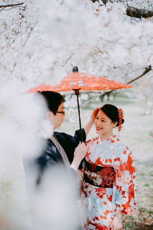 Tokyo kimono engagement photography with cherry blossoms - Pre-wedding photographer Ippei and Janine