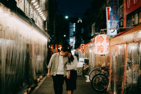 Tokyo Night Couple Photoshoot in Asakusa