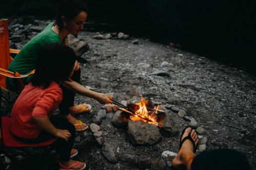 Wild camping by a mountain river in Tokyo