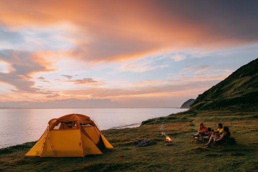Wild camping by the beach, Tokyo Bay, Japan
