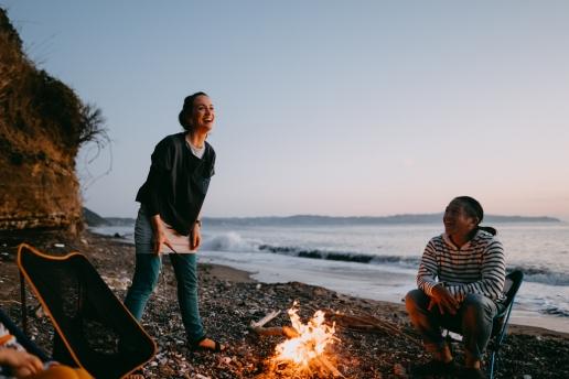 Wild beach camping by Tokyo Bay, Chiba