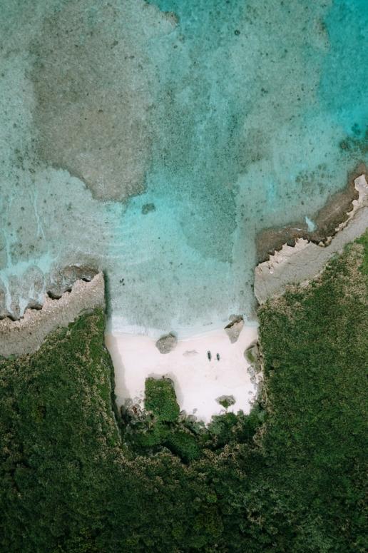 Secluded tropical beach from above, Miyako Island, Okinawa, Japan