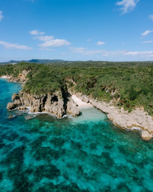 Hidden tropical beach on Okinawa Main Island, Japan