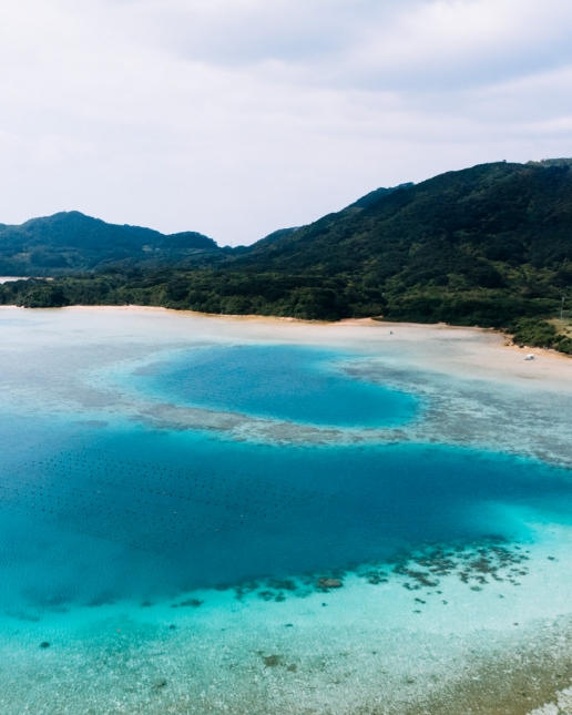 Aerial view of tropical Japan, Ishigaki Island of the Yaeyama Islands, Okinawa
