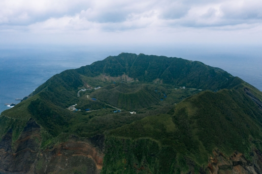Aerial view of double caldera island, Aogashima of Izu Islands, Tokyo