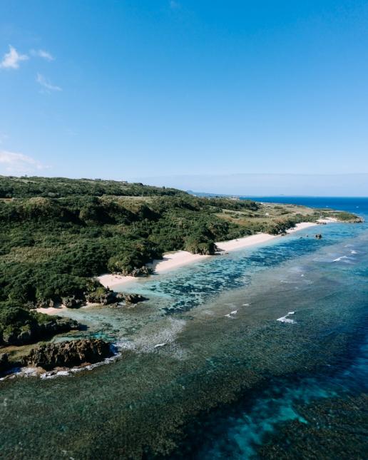 Tropical beach on Okinawa Main Island on New Year's Day, Japan