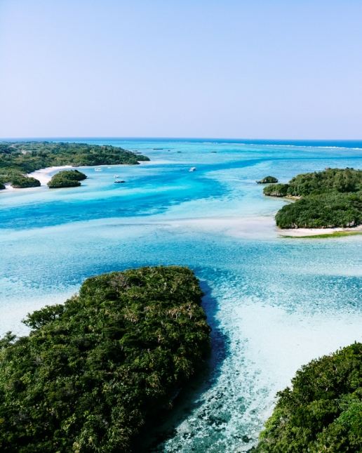 Drone's eye view of tropical Japan, Ishigaki Island of the Yaeyama Islands, Okinawa