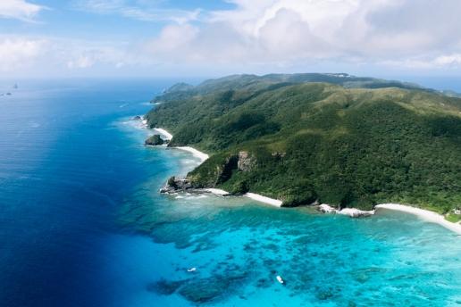 Aerial view of Tokashiki Island, Okinawa, Japan