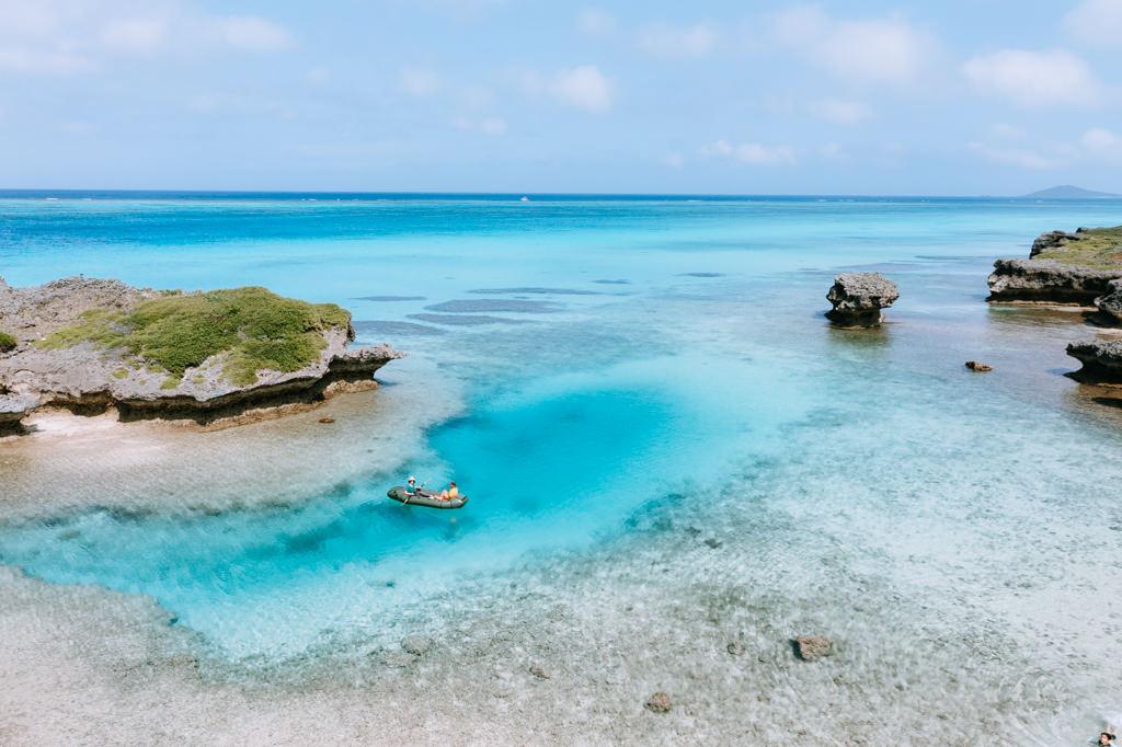Coral-reef lagoon packrafting/kayaking, Miyako Island, Okinawa, Japan