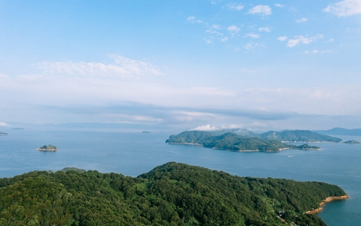 Aerial view of Kasaoka Islands, Seto Inland Sea, Japan