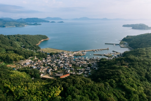 Aerial view of Manabeshima Island, Seto Inland Sea, Japan