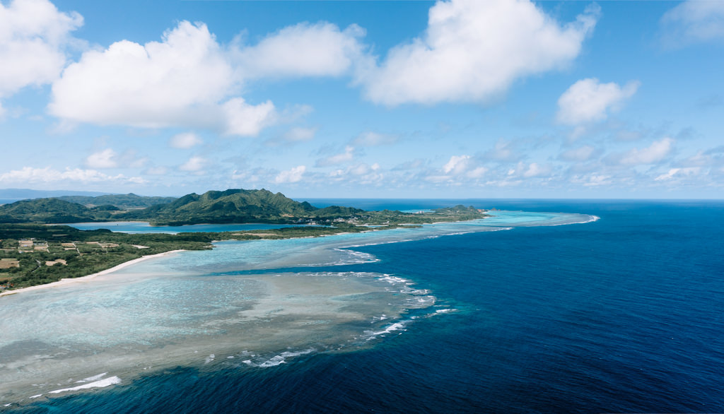 Aerial view of Ishigaki Island, Okinawa, Japan