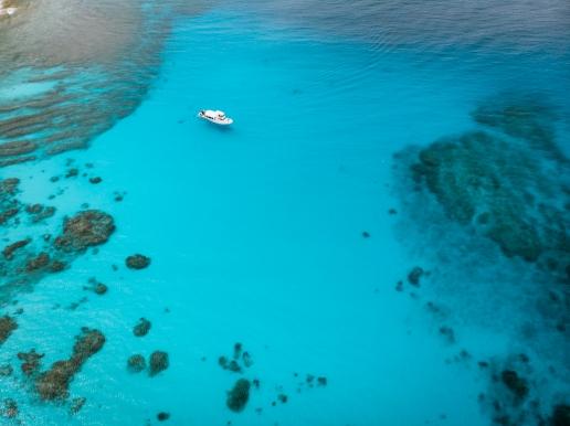 Clear blue tropical water of Kerama Islands National Park, Okinawa, Japan