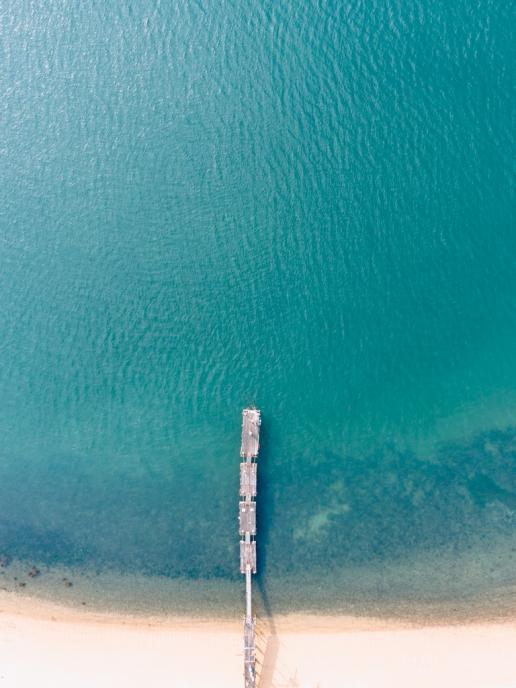 Santora's pier from above, Manabeshima Island, Seto Inland Sea, Japan