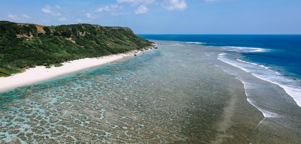 Fringing coral reef of Miyako Island, Okinawa, Japan
