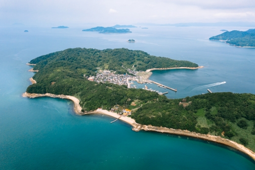 Aerial view of Manabeshima Island of Kasaoka Islands, Seto Inland Sea, Japan