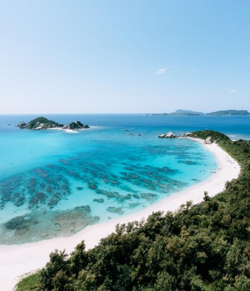 Tropical paradise beach on Tokashiki Island of Kerama Islands, Okinawa, Japan