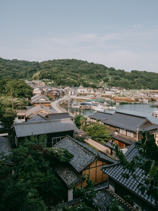 Manabeshima main village and port, Okayama, Japan