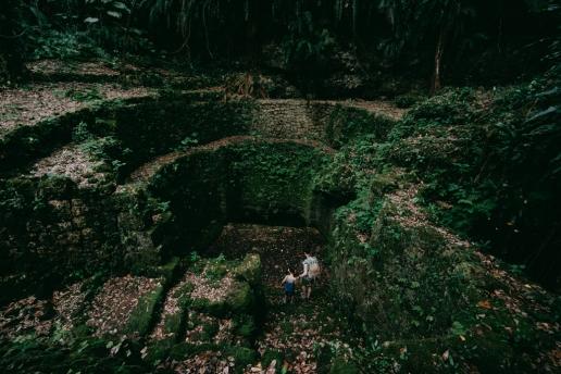 Ancient well in limestone cave, Miyako Island, Okinawa, Japan