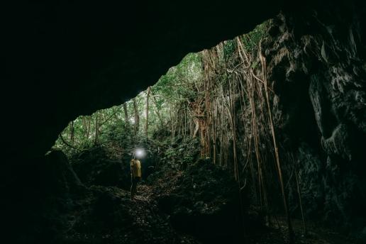 Exploring limestone cave, Kikaijima, Amami Islands, Kagoshima, Japan