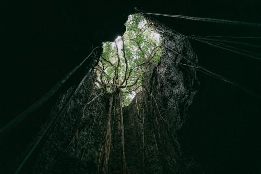 One of many limestone caves on Irabu Island, Japan