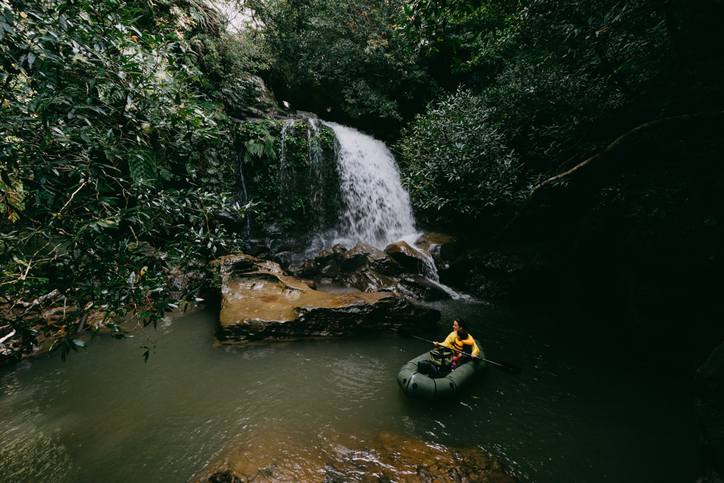 Waterfall deep inside jungle of Iriomote Island, Okinawa, Japan