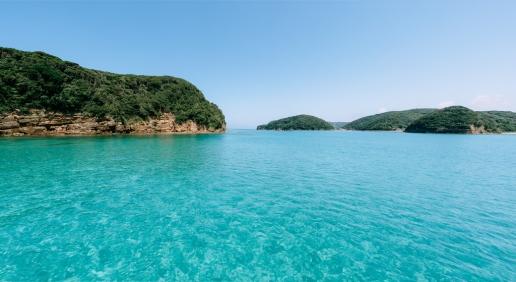Clear blue water around Tatsunoshima, Iki Island, Nagasaki, Japan