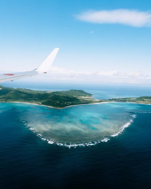 Aerial view of Ishigaki Island and coral reef, Okinawa, Japan