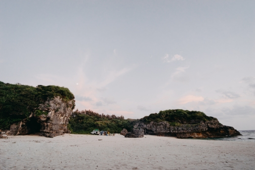 Camping on secluded beach, Amami Islands, Kagoshima, Japan