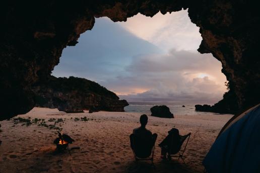 Cave beach camping in southern Japan, Okinoerabu Island, Kagoshima