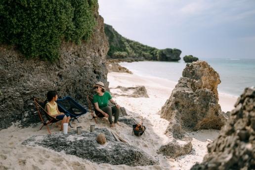 Camping on secluded tropical beach, Miyako Island, Okinawa, Japan