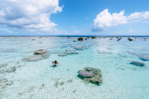 Coral reef lagoon with clear tropical water, Okinoerabu Island, Japan
