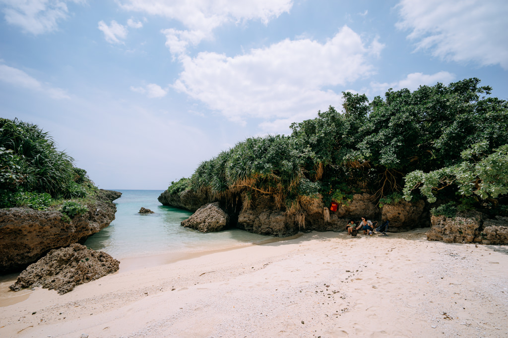 Camping on secluded tropical beach, Shimoji Island of Miyako Islands, Okinawa, Japan