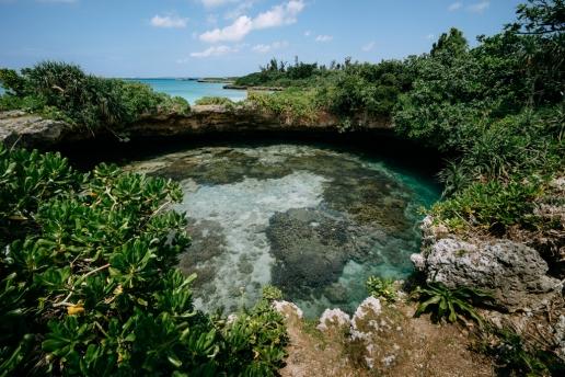 Sea cave hole, Miyako Island, Okinawa, Japan