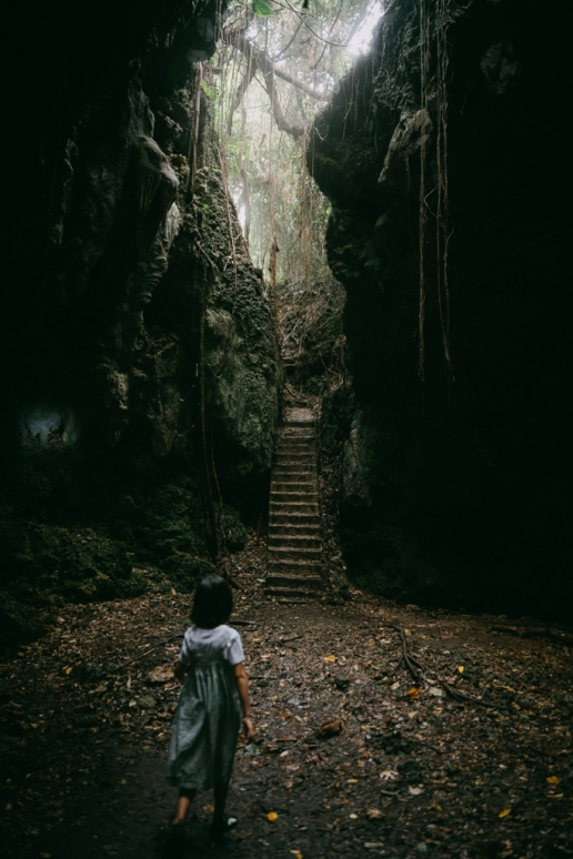 Limestone cave in jungle, Irabu Island of the Miyako Islands, Okinawa, Japan