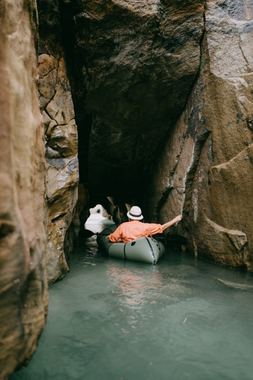 Cave packrafting, Tanegashima Island, Kagoshima, Japan