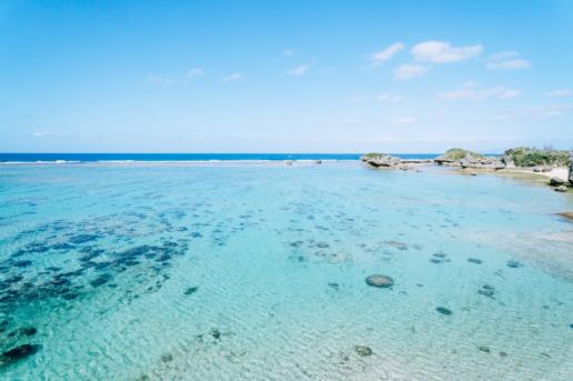 Overlooking coral reef lagoon, Okinawa Main Island