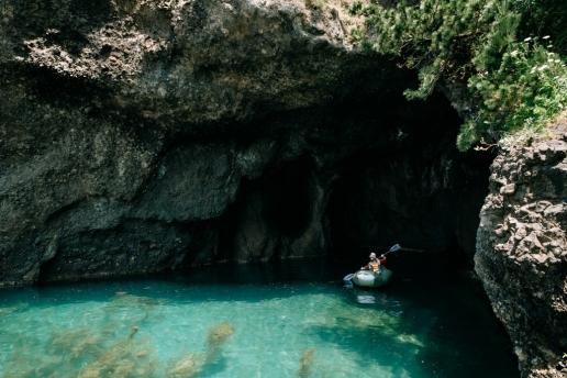 Sea cave kayaking, Sado Island, Niigata, Japan