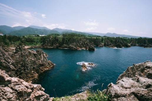 Rugged coastline of Senkaku Bay, Sado Island, Niigata, Japan