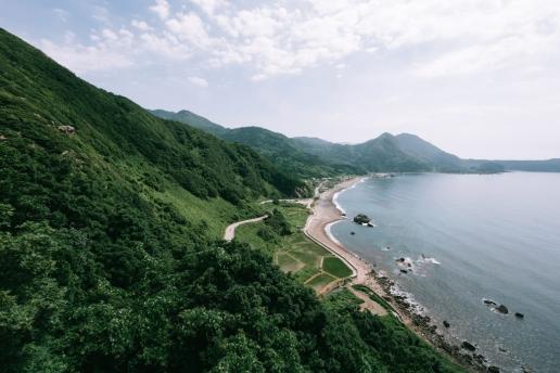 Lush green landscape of Sado Island, Niigata, Japan