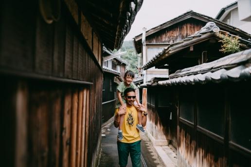 Having a walk in Manabeshima main village, Okayama, Japan