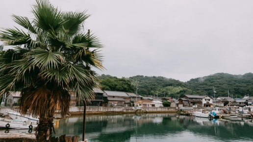 Manabeshima port village in rainy season, Okayama, Japan